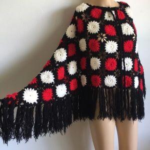 VTG 70s Hippie Yarn Floral Cape Sweater Fringe M L